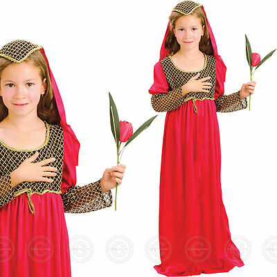 Girls Juliet Fancy Dress Costume Tudor Medieval Kids Childs Outfit Book Week Day