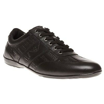 New Mens Armani Jeans Black Formal Embossed Sneaker Leather Shoes Lace Up