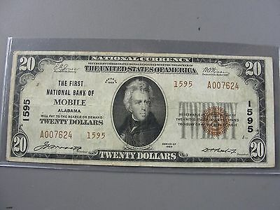 1929 Mobile Alabama $20 National Banknote 1595 * First National Bank*