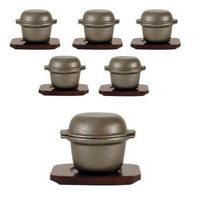 6 x Garlic Prawn Pot with Rectangle Wood Base, Cast Iron, Restaurant / Cafe