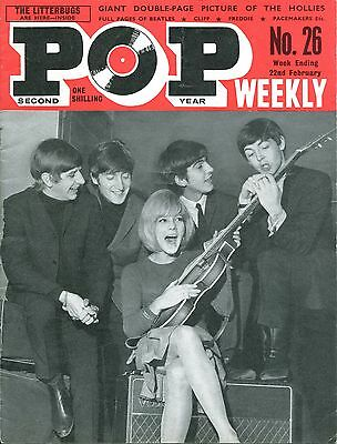 UK 1964 Music Magazine: POP WEEKLY no. 26  The Beatles / Hollies
