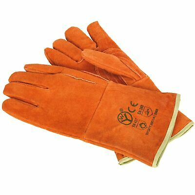 Sealey Heavy-Duty Lined Leather Welding/Welder Work Gauntlets - Pair - SSP151