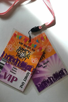 Personalised Festival Party VIP Pass Lanyard for Birthday Party Invite