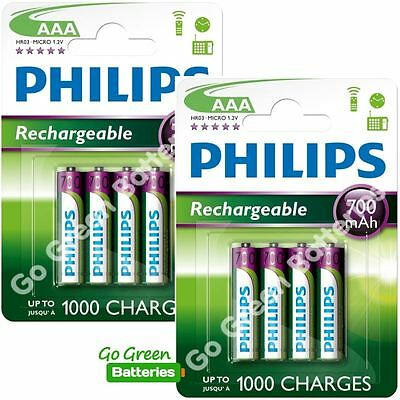 8 x Philips AAA 700 mAh Rechargeable Batteries LR03 HR03 Dect Cordless Phone