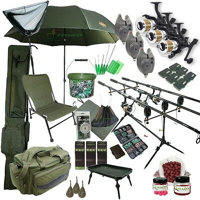 3 Rod Carp Set Up With Tilting Brolly. Carp Fishing Set. Rods Reels Bait Bag