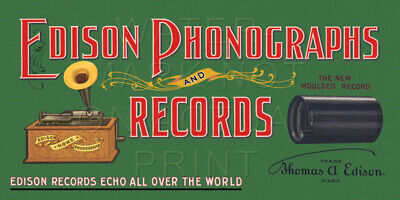 """24"""" X 12"""" Edison Phonographs and Records Canvas Banner Talking Machine"""