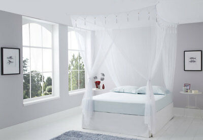 CREAM / IVORY King Size Deluxe  Box Mosquito Net Bed Canopy 4 Poster Bed Style