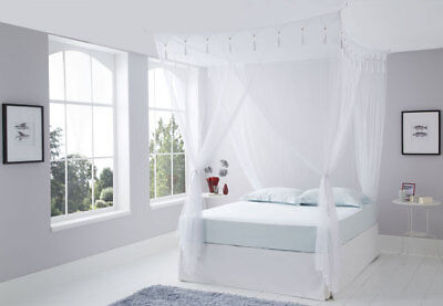 White King Size Deluxe Box Mosquito Net Bed Canopy 4 Poster Bed Style