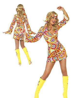 70s Psychedelic Hippie Fancy Dress Outfit 60s Hippy Chick Lady Costume UK 8 - 18