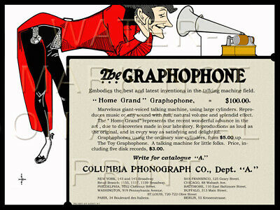 "24"" X 18"" Columbia Phonograph Advertisement on Artistic Canvas"