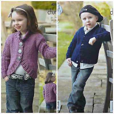 KNITTING PATTERN Childrens Long Sleeve Bolero Cardigan with Cables Chunky 4284