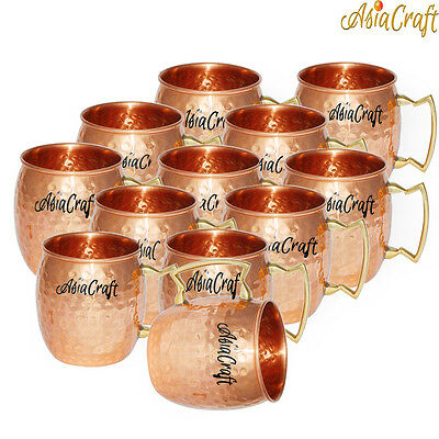 AsiaCraft Pure Copper Hammered Moscow Mule Vodka Mug , Set of 12, 18 oz.
