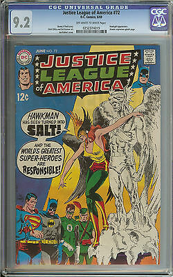 Justice League Of America #72 Cgc 9.2 Ow/wh Pages // Hawkgirl Appearance