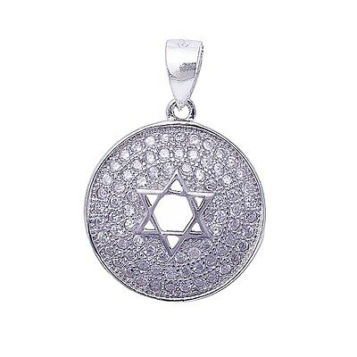Micro Pave Cubic Zirconia Charm w/ Star of David .925 Sterling Silver Pendant