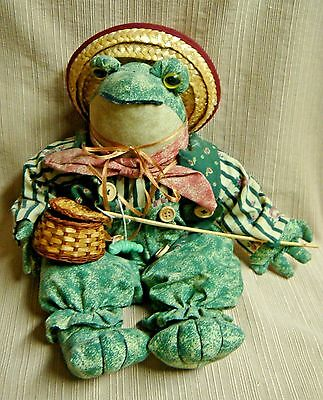 Cute FROG FISHERMAN DOLL - Great Details