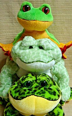 "3 PLUSH FROGS by GANZ - Tree Frog / Bull Frog / Spotted Frog - Embroidered ""W"""