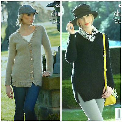 KNITTING PATTERN Ladies V-Neck Long Jacket & Jumper Chunky King Cole 4275