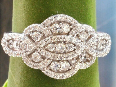 14KT SOLID WHITE GOLD BRILLIANT CUT DRESS RING IN 0.75 CT Anniversary
