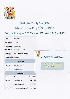 Billy Walsh Manchester City 1938-1950 Rare Original Hand Signed Cutting/Card