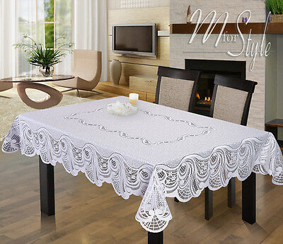 Rectangle Lace Tablecloth White Large Premium Quality