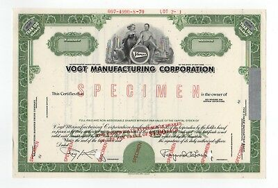 SPECIMEN - Vogt Manufacturing Corporation Stock Certificate