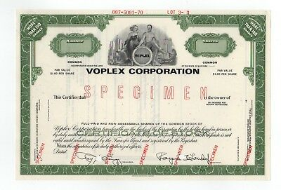 SPECIMEN - Voplex Corporation Stock Certificate