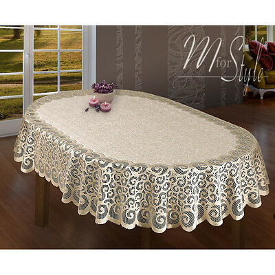 Oval Lace Tablecloth Beige Large Premium Quality