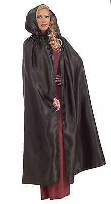 "Womens Adult Cape 57"" Long Costume Theatrical Cloak Adult Black Satin Hooded NEW"