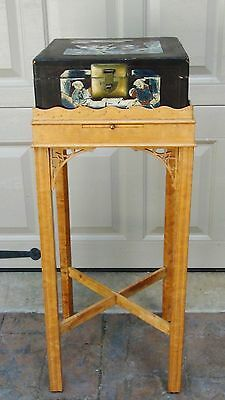 Early 20C Chinese Slender Burlwood Table,sliding Panel& Black Lacquered Box