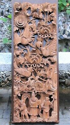 "ANTIQUE 19c CHINESE  WOOD SOLID PIERCED HAND CARVED PANEL ,SUNBIRDS ,PEOPLE 41""H"