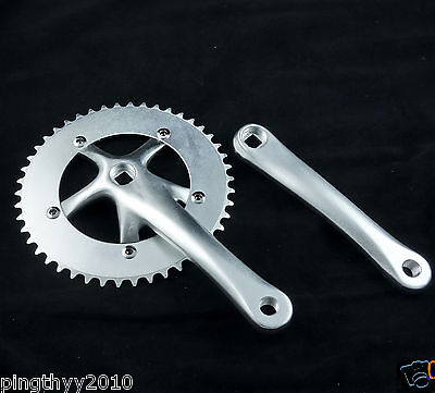 J&L Crank Set for Single Speed,Fixed Gear,Fixie,Trac​k-46T*130BCD-Silver