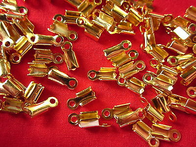 50 Fold-Over 7mmx2mm Cord Leather Ends #3013 Jewellery Making Beading Craft