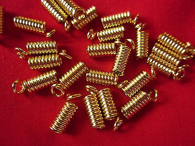 50 Gold Coloured 9mm x 4mm Coil Cord Ends #3017 Jewellery Making Findings Craft