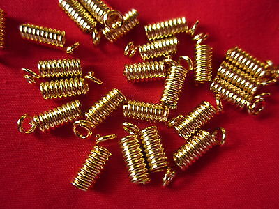 50 Gold Coloured 9mmx4mm Coil Cord Ends #3017 Jewellery Making Findings Craft