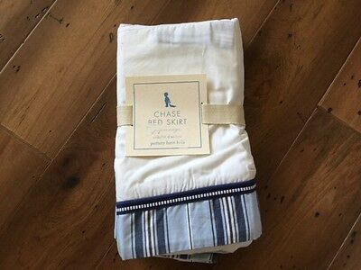 Pottery Barn Chase Crib Skirt - Blue -  New In Package!!