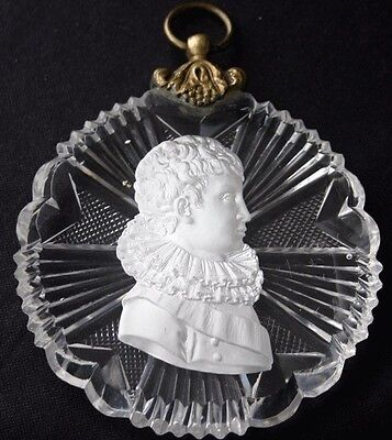 NAPOLEON II Cameo Sulphide Baccarat Glass Medallion