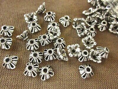 50 Antique Silver Coloured Bead Caps 7mmx5mm #bc528 Jewellery Making Findings