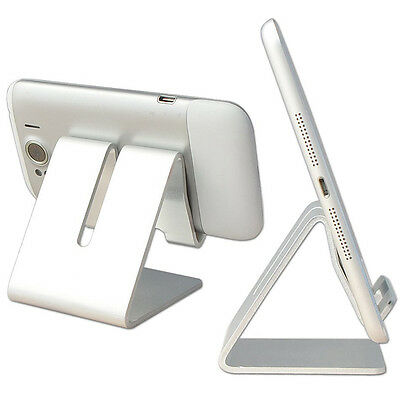 iPad iPhone Mobile Phone Stand Holder Tablet Computer Aluminum Stander Silver