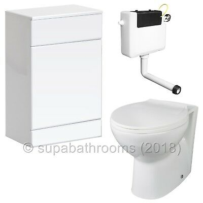 Back to Wall BTW Toilet Pan WC Concealed Cistern S/Close Seat Bathroom Cloakroom