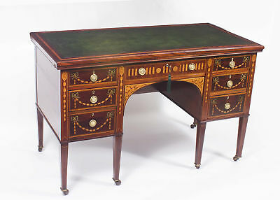 Antique Edwardian Inlaid Desk With Slides c.1900