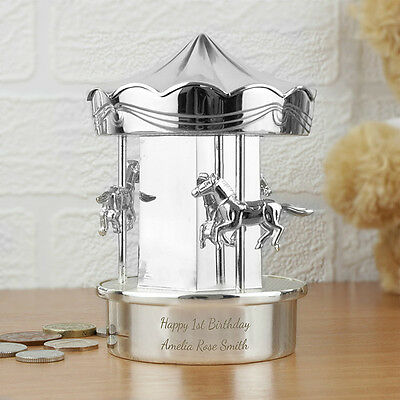Personalised Carousel Silver Moneyboxes - Free Engraving Service - Boy Girl Gift