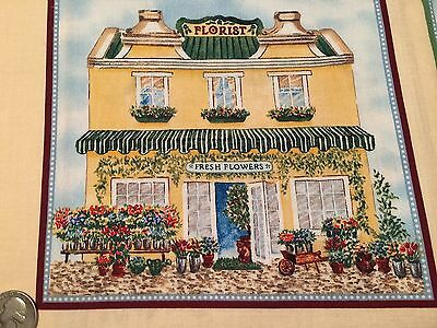 """Fabric Small Town Country Shops Quilt Square 7"""" x 7"""" Cotton Florist"""