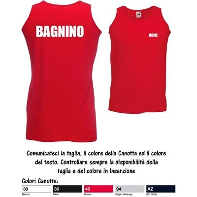 Canotta T-Shirt Nome Bagnino Lido Uomo Valueweight Cotone Fruit of the Loom MS2