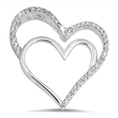 Beautiful Two Hearts Cz .925 Sterling Silver Pendant