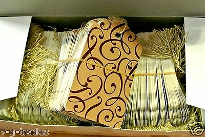 LOT 200 LARGE Scalloped COCOA Print  Paper Merchandise Price Tags with String