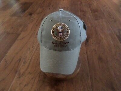 U.s Military Army Retired Hat Embroidered Khaki Ball Cap