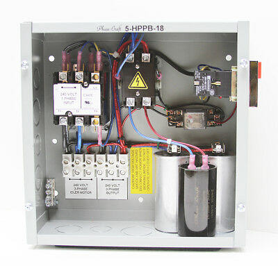 5 HP ROTARY PHASE CONVERTER CONTROL PANEL make your own true 3-phase power!