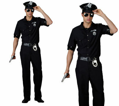 Mens Cop Uniform Policeman US Police Man Terminator Fancy Dress Costume New