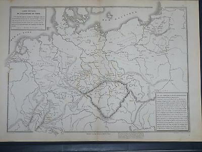 1874 Original Antique French  MAP GERMANY 1806 to 1813