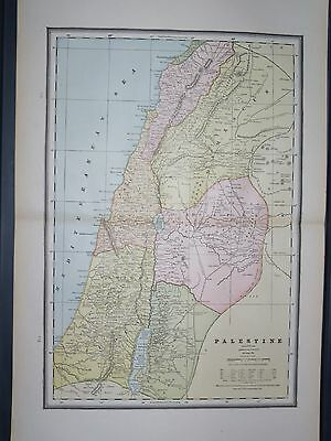 1888 LARGE CRAM Antique MAP PALESTINE / CENTRAL ASIA Turkestan Afghanistan